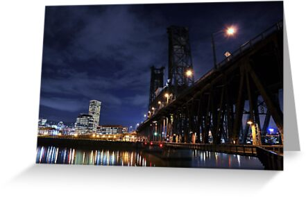 Old double decker steel bridge in Portland OR. by pdsfotoart