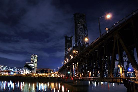 Old double decker steel bridge in Portland OR. by pdsfotoart