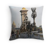 On Pont Alexander III Bridge Throw Pillow