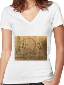 French Graffiti Women's Fitted V-Neck T-Shirt