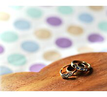 Rings on a wooden heart Photographic Print