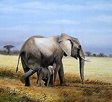 An Elephant and her Calf by Mutan
