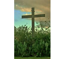 Rustic Cross Among the Prickly Pears Photographic Print