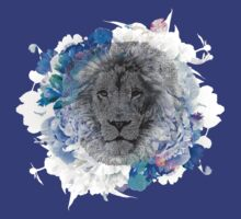 Lion Warm Blue Flowers by peaceloveunity