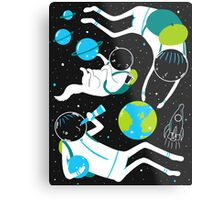 A Day Out In Space - Black Metal Print