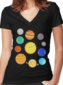 The Solar System Women's Fitted V-Neck T-Shirt
