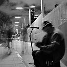 Melbourne Busking B&W by Joanna Beilby