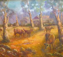 Cattle in the clearing by David Hinchliffe