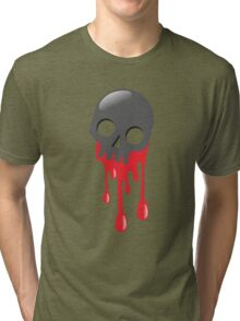 Grey skull bleeding Tri-blend T-Shirt