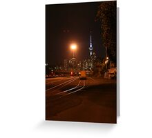 Auckland by night - photograph - wonderful contrasts of dark and light, beautiful colors, night photography Greeting Card