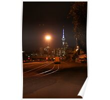 Auckland by night - photograph - wonderful contrasts of dark and light, beautiful colors, night photography Poster