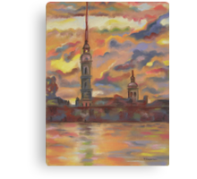 In Flames of Sunset- St. Peter and St. Paul Cathedral, St. Petersburg, Russian Federation. Canvas Print