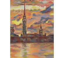 In Flames of Sunset- St. Peter and St. Paul Cathedral, St. Petersburg, Russian Federation. Photographic Print