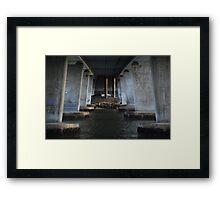 Fishing under the Motorway bridge Framed Print