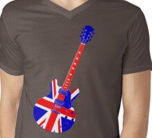 Retro Brit Pop Guitar Mens V-Neck T-Shirt