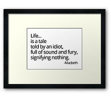 Sound and Fury Framed Print