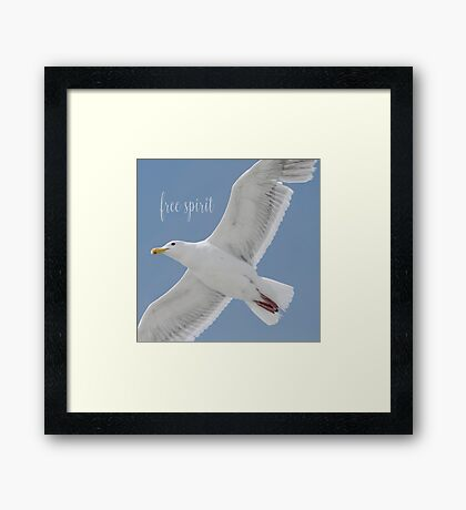 Gull with Inspirational Saying Framed Print