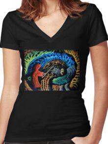 Shaman vs. Wizard Women's Fitted V-Neck T-Shirt
