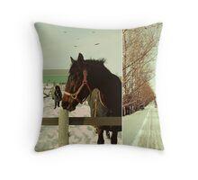 Winter Horses II Throw Pillow