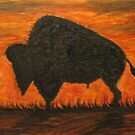 Buffalo-Bison Oil Painting by janetmarston