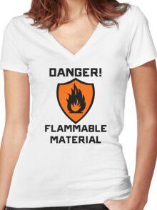 Warning - Danger Flammable Material Women's Fitted V-Neck T-Shirt
