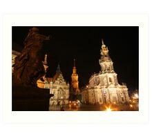 Night Ensemble of Dresden at Elbe River Art Print