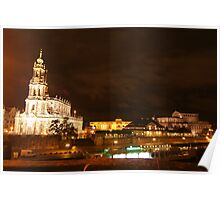 Nocturnal panorama of Dresden at the River Elbe Poster