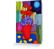 Blue Moon with Fruit and Flowers   SOLD Greeting Card