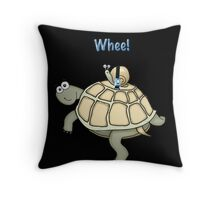 Turtle and Snail Having Fun and Buckled up! Throw Pillow