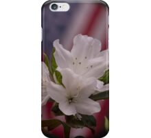 American Beauty ~ American Flag with White Azalea Flowers iPhone Case/Skin