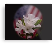 American Beauty ~ American Flag with White Azalea Flowers Metal Print