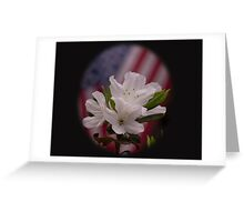 American Beauty ~ American Flag with White Azalea Flowers Greeting Card