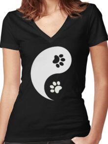 Yin and Yang - Paw Prints Women's Fitted V-Neck T-Shirt