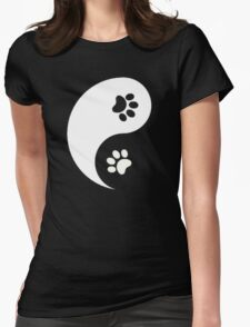 Yin and Yang - Paw Prints Womens Fitted T-Shirt