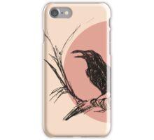 Crow version 3 pink illustration iPhone Case/Skin