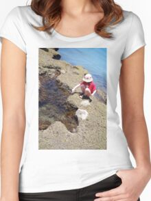 Girl Crouching By Pool Women's Fitted Scoop T-Shirt