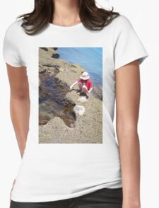 Girl Crouching By Pool Womens Fitted T-Shirt