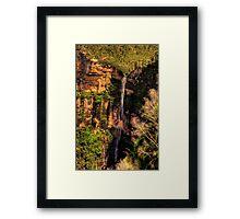 Bridal Veil - Govetts Leap Falls , Blackheath Blue Mountains World Heritage Area - The HDR Experience Framed Print