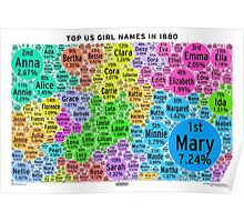 Top US Girl Names in 1880 - White Poster