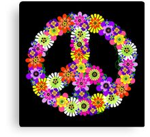 Peace Sign Floral on Black Canvas Print