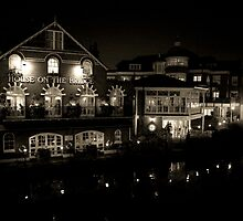 River at Night Black and White by Robyn Liebenberg