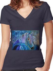 COBALT FURY Women's Fitted V-Neck T-Shirt