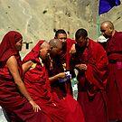 Monks outside the Lamayuru monsatery by Ritu Lahiri