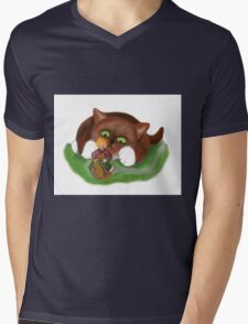 Fairy Makes  a Slow Get-a-way on a Snail Mens V-Neck T-Shirt