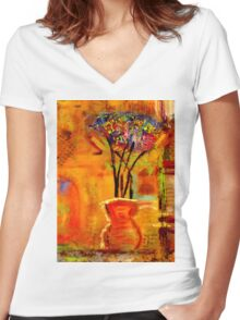 On My Window Sill Women's Fitted V-Neck T-Shirt