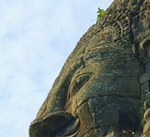One of the 4 faces of a bayon tower Sticker