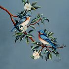Blue Birds on Dogwood by jillcsmith