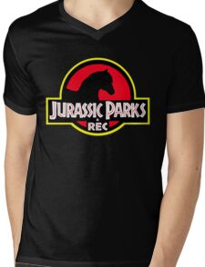 Jurassic Parks and Rec Clean Mens V-Neck T-Shirt