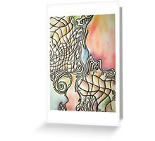 Fishing in a Southern Sea, abstract, pastel on paper Greeting Card
