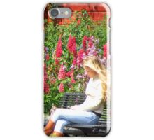 Finn on Phone Affront Lupine and Phlox iPhone Case/Skin